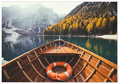 Panorama® Póster Lago Braies 100 x 70 cm | Láminas
