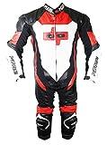 Perrini 1PC rosso bianco & nero in vera pelle bovina tuta intera da equitazione moto Racing, 48