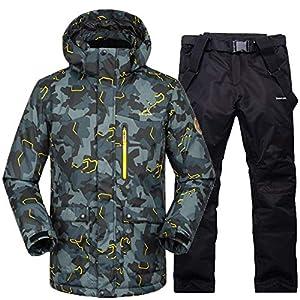 Herren Skianzüge Winter Kälteschutz Warmhalten Bergsteigeranzug Furnier Doppeldecker Ski Jacket Hose, XL, schwarz Esche + schwarz