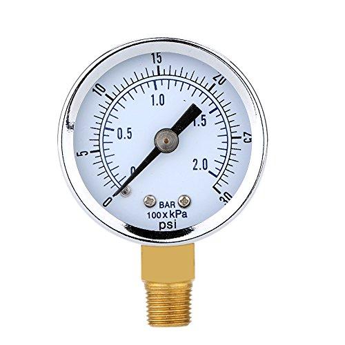 Yuver (TM) 0 ~ 30 psi 0 ~ 2bar Mini Dial pressione compressore d'aria Meter idraulico Gauge Gage Manometro a doppia scala