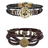 Milacolato Punk Alloy Leder Armband für Männer Konstellation Geflochtenes Seil Armband Armreif Armband Sternzeichen und Sternzeichen Charme 2ST