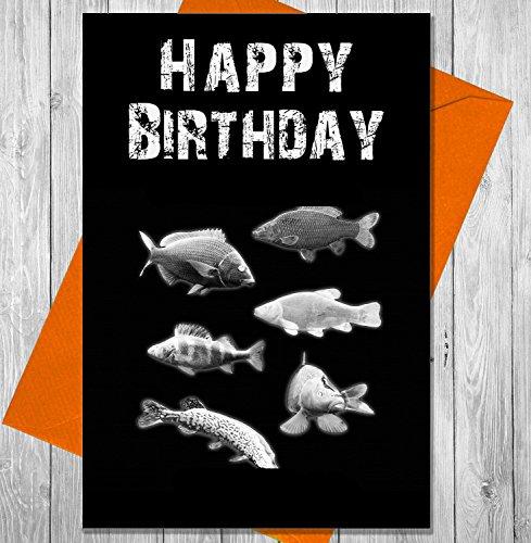Geburtstagskarte Fisch Mix–Einzigartiges Kreidetafel Effekt Grußkarte