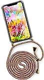 ONEFLOW® Handykette + Hülle passend für iPhone X/iPhone XS | Stylische Kordel Kette - Kristallklare Handyhülle mit Band zum Umhängen in Regenbogen Bunt