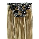 ❤️LILICAT 6 Pcs Pleine Tête Naturel Femmes 16 Clips Synthétique Extensions de Cheveux Droites Belle Perruques cospay Classics Vintage Lisseur (F)...