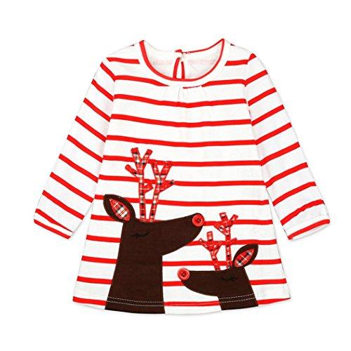 Kleid Mädchen Kolylong® 1 Set (0- 6 Jahre alt) Kinder Baby Mädchen Hirsch Gestreift drucken Kleid Weihnachten Outfits Herbst Langarm Kleid Babykleidung Tops (120CM (4-5 Monate), Weiß) (Gestreiftes Kleid Set)