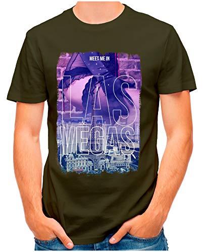 OM3® - LAS-Vegas - T-Shirt | Herren | Meet Me in Players Paradise Vintage | Oliv, XL -