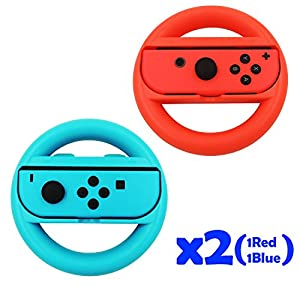 QUMOX Lenkrad Controller Case Gehäuse Handle Griff L+R Travel Holder Case Fall Set – Rot/Blau Für Nintendo Switch Schalter Joy-Con