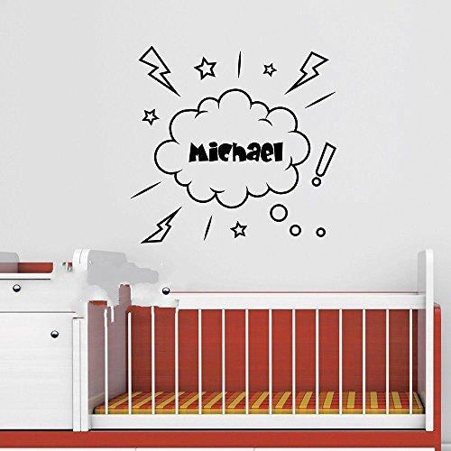 Piraten Wandtattoo personalisierte Name Piraten Aufkleber Piratenschiff Vinyl Kunst Wand Dekor Kinder Wandaufkleber für Kinderzimmer 56 * 54 cm ()