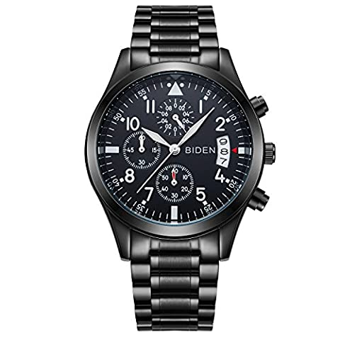 Watches,Mens Watch,Mens Quartz Watch with Black Dial Chronograph Display and Stainless Steel Bracelet