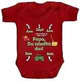 Geschenk zum Vatertag Trecker Traktor Strampler Bio Baumwoll Baby Body kurzarm Jungen Mädchen Landwirt - Papa Du schaffst das, Größe: 12-18 Monate,Red