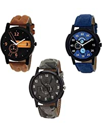 Xforia Boys Watch Latest Blue, Brown & Army Leather Analog Watches For Mens Pack Of 3 Discount
