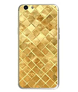 PrintVisa Designer Back Case Cover for Oppo F1s (Golden Matty Shiny Checks Zigzag)