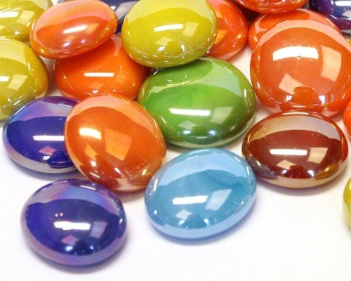 50 Glass Round Gems Pebbles Nuggets Mosaic Tiles Opalescent, Marble and Crystal Colour Mix 13-18mm