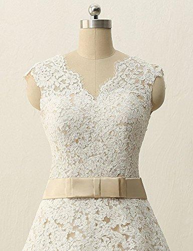 JAEDEN Brautkleid Tüll Hochzeitskleid A Linie V-Ausschnitt Damen Wadenlang Champagne