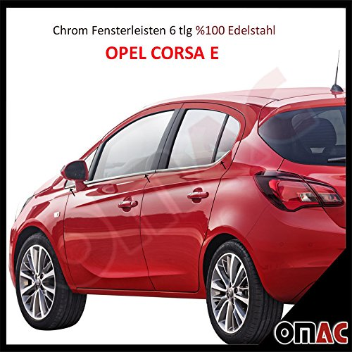 Opel Corsa E ab 2015 Chrom Fensterleisten 6 tlg aus Edelstahl V2A