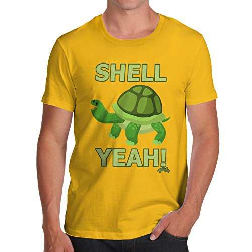 TWISTED ENVY Herren T-Shirt Shell Yeah Turtle Print X-Large Gelb