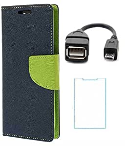 Winchip Mercury Flip Cover For Samsung Galaxy J2 With Tempered Glass & Micro OTG Cable - Green