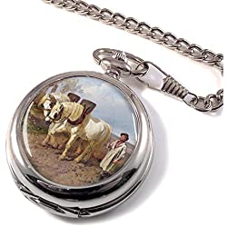Horse Drawn Harrow by Herring Full Hunter Pocket Watch