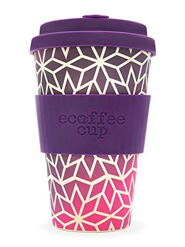 Ecoffee Cup Tasse Motif étoiles avec Silicone Violet foncé 400 ML