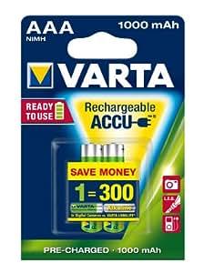 Varta 5703301402 - Accu HR03 AAA Professional, 1000mAh, 2-pack