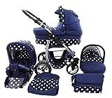 Chilly Kids Dino 3 in 1 Kinderwagen Set (Autosit & Adapter, Regenschutz, Moskitonetz, Schwenkräder) 55 Navy & Weiße Punkte