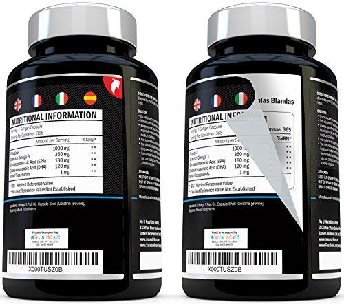 Aceite de Pescado Omega 1000 mg  365 cápsulas softgel   Fabricado en el Reino Unido   Suplemento de Alta Potencia Aceite de Pescado Omega 3   Omega 3 6 9 Triple Fuerza EPA y DHA