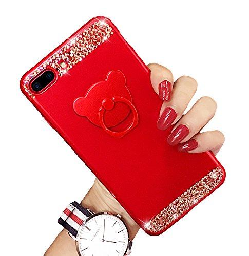 iPhone 66S Bling Case, glatte Soft-Touch-Luxus Kristall Strass matt Matte Hard Shell Case Cover mit Bär Ring Ständer Halter Glitter Make-up Fall für Mädchen iPhone 6/6s rot (Mädchen Iphone Fälle Sechs Für)