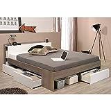 Funktionsbett 140*200 cm grau / weiß inkl 3 Roll-Bettkästen Kinderbett Jugendbett Jugendliege Bettliege Bett Jugendzimmer Kinderzimmer