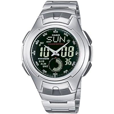 CASIO Collection AQ-160WD-1BVEF - Reloj de caballero de cuarzo, correa de acero inoxidable color varios colores (con cronómetro, alarma, luz)