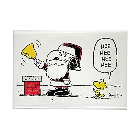 CafePress–Santa Snoopy und Woodstock–Rechteck Magnet, 5,1x 7,6cm Kühlschrank (Snoopy Charlie Brown Christmas)