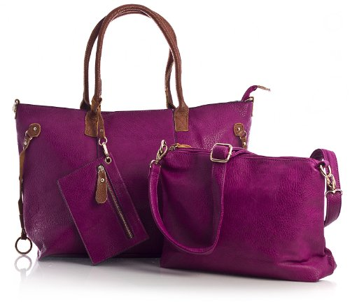 Big Handbag Shop donna top con apertura zip 3 in 1 Borsa Shopper Borsa con tracolla lunga, e portare borsa media Violet