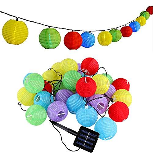 ShiRui Solar Lichterketten 6m 30 LED ist nicht Lampion wasserdicht IP65 Außensolarbetriebene Lichterketten für Garten, Haus, Weihnachtsbaum, Hochzeitsgesellschaft (Mehrfarben)