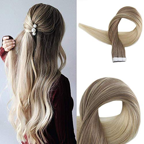 Golden Blonde (Easyouth Haarverlängerung Echthaar Ombre 50g 18 Zoll Farbe #8 Dark Ash Blonde Fading To #60 Dark Golden Blonde Remy Haarband In Erweiterungen Seamless Hair Extensions)
