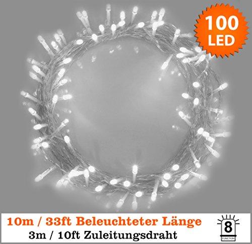 Lichterkette 100 LED Weiss Innen Energien betriebene LED feenhafte Lichter Ideal für Weihnachtsbaum, festliche, Hochzeits / Geburtstagsfeier Dekorationen LED Schnur Lichter