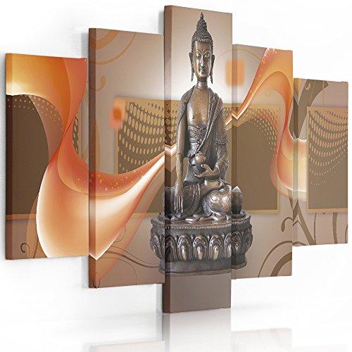 Feeby Frames, Cuadro en lienzo - 5 partes - Cuadro impresión, Cuadro decoración, Canvas (BUDA MARRÓN) 100x150 cm, Tipo A