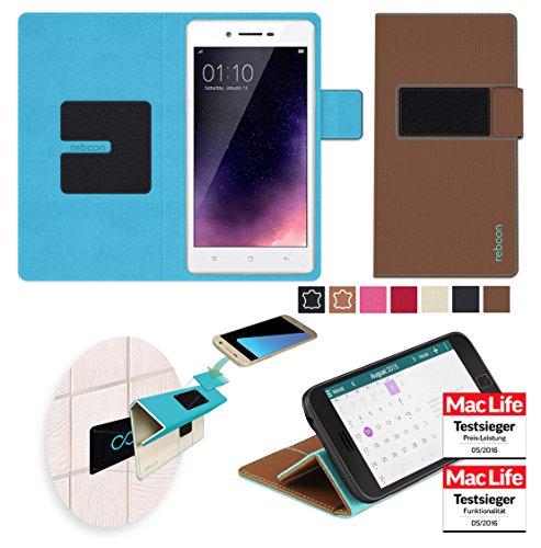 reboon Hülle für Oppo Neo 7 Tasche Cover Case Bumper | Braun | Testsieger