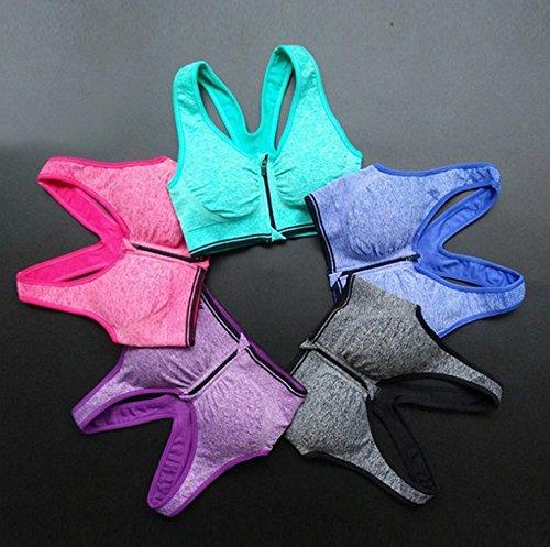 Leisial Soutiens-gorge de Sport Lingerie pour Femmes Yoga Fitness pour les Avant Zipper Sans Roues Sports Vest Course Bleu L