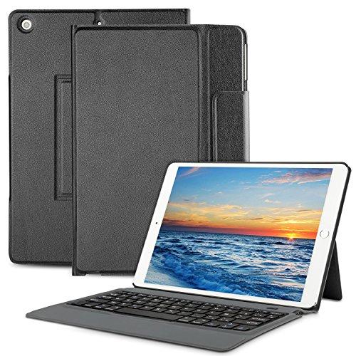 OMOTON Coque Housse Clavier AZERTY iPad 2017 9.7 Pouces Bluetooth, Clavier Français Auto Veille&Réveil [Micro USB Gratuit] Case