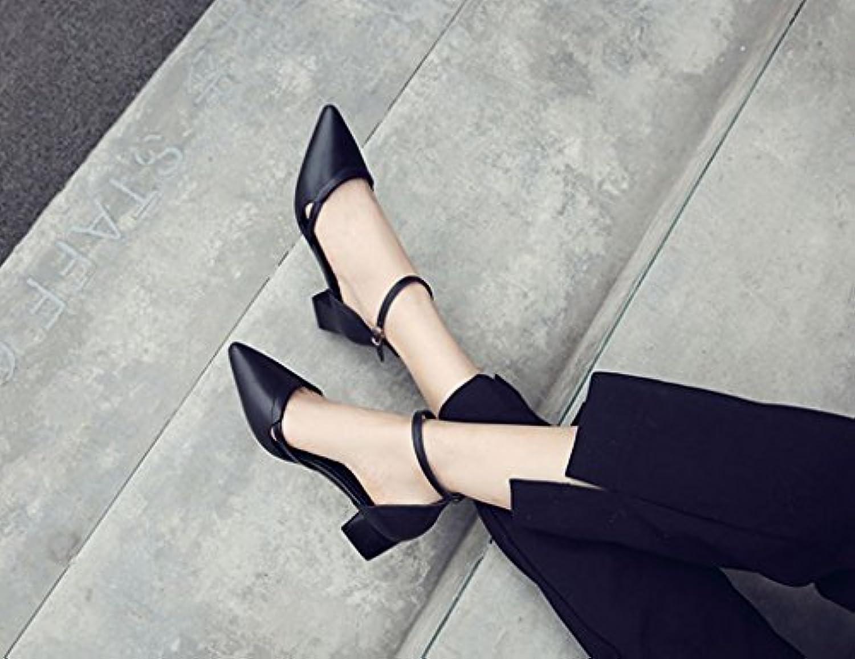 ZCJB Zapatos De Tacón Alto Zapatos De Tacón Medio De Mujer Four Seasons Zapatos De Punta Blanca ( Color : Negro...