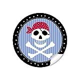 24 STICKER: 24 Geschenkaufkleber PIRAT mit Totenkopf in schwarz blau