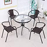 Afanyu Afanyu Mesa redonda y silla de cristal templado Combinación de mesa pequeña plegable al aire libre Minimalista moderno de hierro forjado Mesa de centro de café informal Negro,90cm * 73cm