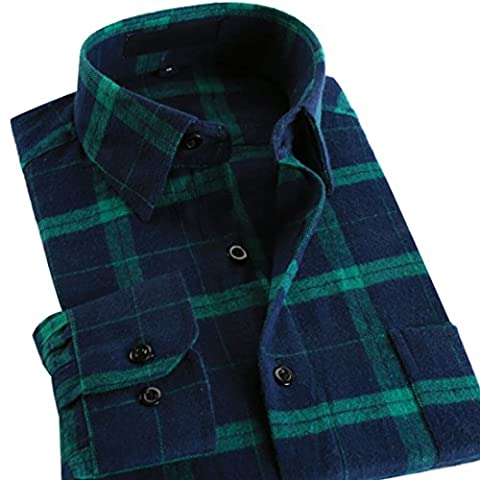 Vertvie Men's Cotton Flannel Shirt Plaid Long Sleeve Slim Button