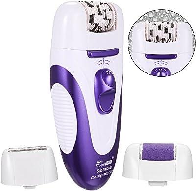 ACEVIVI Depiladoras Femeninas Depiladora eléctrica recargable 3 en 1 de dos velocidades 3 accesorios Epilator del pelo, Removedor de Callos con