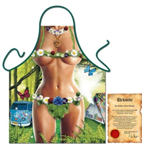 trag-das bedruckte Fun Grillschürze - sexy Motiv: Hippie Girl - Spaß Grillschürze Kochschürze Weihnachten Advent Nikolaus