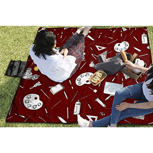 BigHappyShop Picnic Blanket Art Supplies Waterproof Extra Large Outdoor Mat Camping Or Travel Easy Carry Compact Tote Bag 59