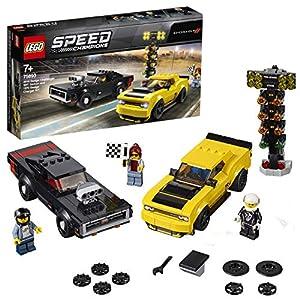 LEGO Speed Champions - Dodge Challenger SRT Demon de 2018 y Dodge Charger R/T de 1970, juguete de construcción de coches deportivos (75893)