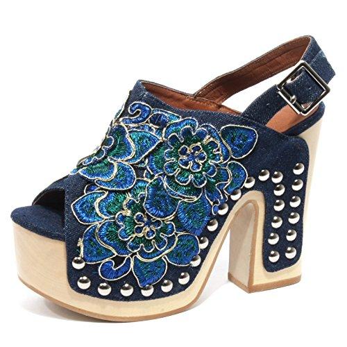 B2204 sandalo donna JEFFREY CAMPBELL VUELTA scarpa zeppa blu denim shoe woman [38]