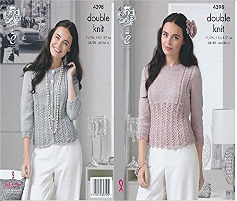 King Cole Ladies Double Knitting Pattern Womens Lace Effect Cardigan & Sweater Glitz DK (4398)