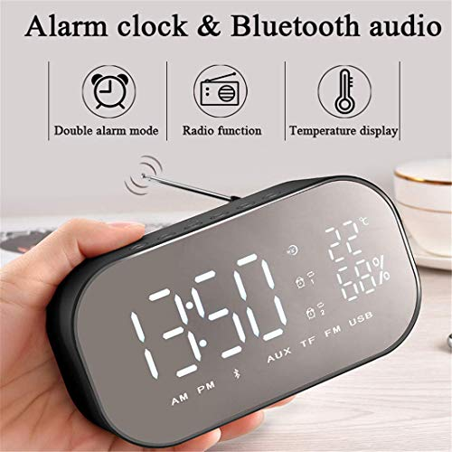 AMYZS-KK Digit Spiegel Wireless FM Radio Clock, Bluetooth Wireless LED Dual-Lautsprecher Metall Music Player Wecker Nachttisch Spiegelfläche Multifunktions Wecker,Rosegold (Black)