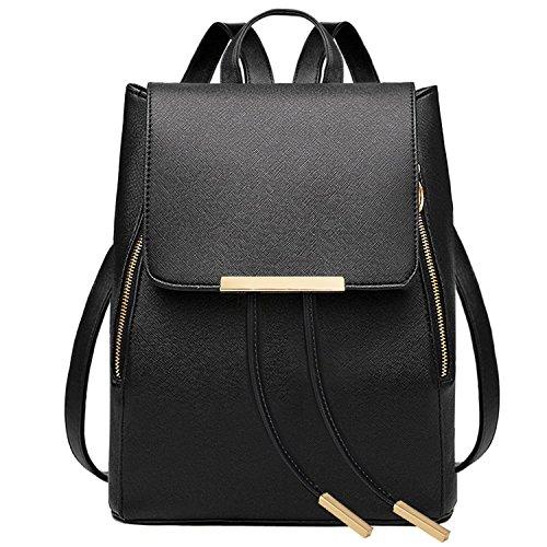 Leefrei Damen Rucksack Damen Tasche Leder Daypack Backpacks Freizeitrucksack (Vintage-Schwarz) (Tasche Rucksack Rucksack)